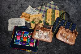A collection of vintage bags from Burma, including two with hand painted scenes to fronts,and
