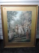 A print, after Brownscombe, A Hundred Years Ago, wedding, 62 x 45cm, framed and glazed