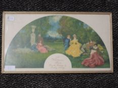 A print on silk, after, Dudley Hardy, A Watteau fan, attributed verso, dated 1897, 20 x 37cm, framed