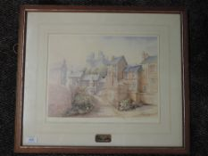 A ltd ed print, after Mario Ottenello, Lancaster townscape, numbered 252/500,signed, 28 x 36cm,