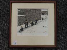 A ltd ed print, after Tom Dodson, The Slide, numbered 303/850, 23 x 25cm, framed and glazed