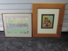 A watercolour, woodland meadow, 32 x 42cm, framed and glazed, and an oil painting, Sam, still