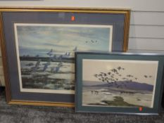 A limited edition print after Peter Scott, geese, signed and numbered 169/250, 55 x 68cm, framed and