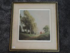 An etching, after Tatton Winter, bucolic country landscape, signed, 46 x 46cm, framed and glazed