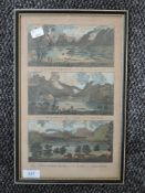 An engraving, triptych, View of Derwentwater, Broadwater, and Winandermere, late 18th century,