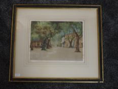 An etching, coloured, after Tatton Winter, Avignon, signed, 28 x 35cm, framed and glazed