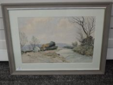 A watercolour, B Eyre Walker, Logs by the Wayside, signed 37 x 55cm, signed and dated 1969, framed