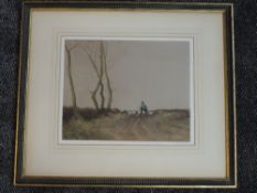 An etching, after Tatton Winter, sheep farmer, signed, 32 x 39cm, framed and glazed