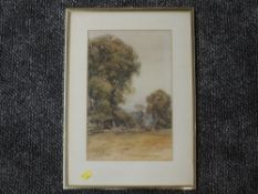 A watercolour, ARP, country landscape, framed and glazed, indistinctly signed, 33 x 20cm, framed and