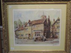 A print after Sturgeon, vintage village scene, signed, 40 x 50cm, framed and glazed