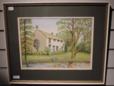 A watercolour, Edward Jackson, country cottage, 26 x 35cm, framed and glazed