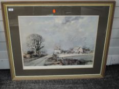 A print after Rowland Hilder, The Road to the Farm,, signed, 40 x 60cm, framed and glazed