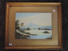 A gouache painting, Scottish loch scene, indistinctly signed, 29 x 40cm, framed and glazed