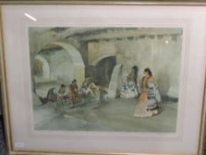A print after William Russell Flint, Spanish ladies in cloister, signed, 42 x 54cm, framed and