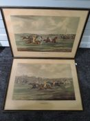 A pair of prints, after Alken, The Start and Coming In, horse racing interest, 20th century