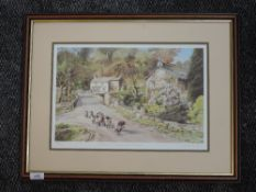 A ltd ed print, after Judy Boyes, Across the Bridge to Elterwater, numbered 424/850, signed and