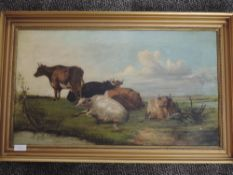 An oil painting, attributed to William Flemming, cattle in water meadow, 19th century, attributed