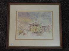A ltd ed print, after Mario Ottenello, Lancaster Christmas, signed, numbered 129/350, 28 x 36cm,