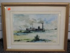 A watercolour, T K Neil, mill town, signed, 29 x 44cm, framed and glazed