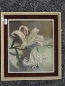 An oil painting on board, attributed to Tuson, lillies, signed and dated 1962 verso, 27 x 32cm,