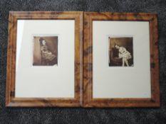 A pair of photographs, re-prints, Lewis Carole, Sunday Times, portrait studies, 17 x 13cm, framed