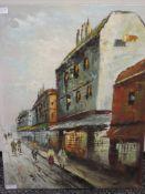 An oil painting, Scott, street scene, signed, 60 x 45cm
