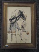 An oil painting, portrait study, indistinctly signed, 53 x 34cm