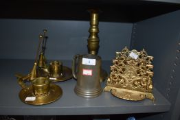 A collection of items including brass letter rack,candle stick holders with snuffers and a tankard.
