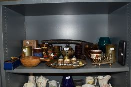 A selection of ceramics and metal wares including lustre jugs and Phoenix ware toast rack