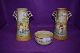 Two Royal Doulton fan handled vases,featuring two of different designs, one depicting woman with