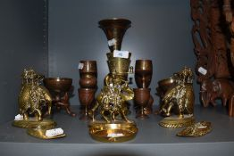 A selection of brass wares including two finely cast in brass and detailed Burmese elephants