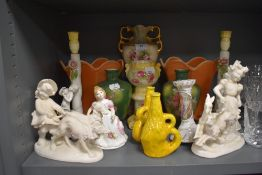 A selection of ceramics including two Italian lamp bases and yellow lava style Bretby vase