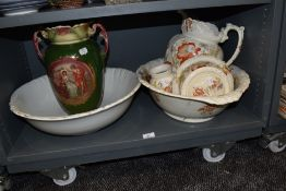 A selection of ceramic toiletries including wash stand set and twin handle vase