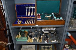 A selection of cutlery table wares and similar including part cased Geraldus set