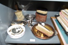 A selection of shoe shine items and trinket dishes including Stella Artois ashtray