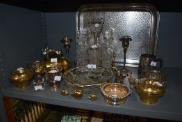 A mix of metal ware and glass including graded Brass pigs,ash tray, cruet set and more.