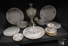 A ceramic table lamp and a collection of dinner plates,bowls and cups and saucers including Royal