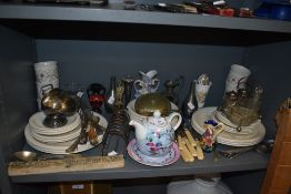 A mixed lot of items including Old Tupton ware vase,plates,toast rack,cutlery and more.