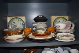 A selection of studio pottery including Danish earthen ware tea cups and fruit bowls