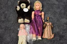 A 1930's Candy Box style Wax Headed Doll, Anne Boleyn (af), two 1960's Chiltern and similar hard pl