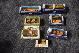 Seven Joal diecasts, Compactor Cat 825B, Ref 218, Hydraulic Excavator, Ref 216, Wheel Tractor