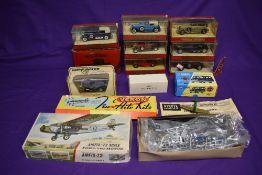 A Airfix 1:72 scale plastic kit, Ford Tri-Motor, part made, a Veron Tru Flite wooden kit, Harvard,