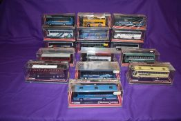 Sixteen Corgi (China) Limited Edition Original Omnibus diecast buses, including Eurolines, Harris