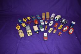 A selection of playworn diecasts including Corgi Ghia L6, Jaguar Mark X Saloon, ERF Model 44 with