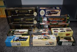 Twelve Corgi (china) Articulated Wagons and Flat Beds including Guinness, Eddie Stobart, Fremlins
