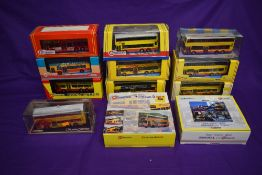 Fourteen Corgi (china) & Drumwell CityBus diecast buses including two sets, East Meets West and
