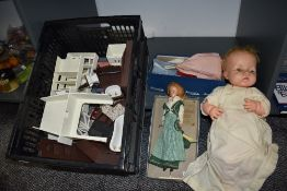 A 1960's Palitoy Tressy Doll, a selection of Sindy clothing, a Chiltern Doll and a selection of