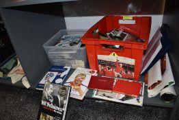 A shelf of modern Sporting Memorabilia including many Premier League Era Bolton Wanderers Matchday