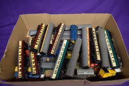 A box of Hornby, Triang and similar 00 gauge Engines, Carriages and Rolling Stock, approx 50 items