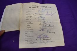 An Autograph Book containing a compliment sheet signed by each team member of the 1948 Australian